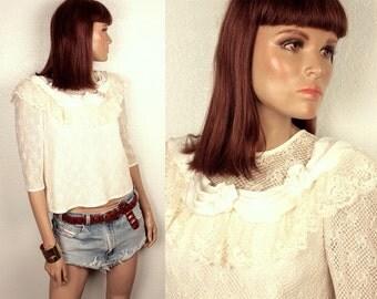 25% OFF SALE // vintage lace blouse // rosette detail // button down back