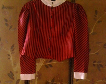 80s cropped red and black stripe silky blouse
