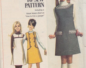 1968 Mod Teen, Tween Mini Jumper Vintage Pattern, Simplicity 7825, Simple to Sew, A Line, Darts, Groovy, Mary Quant, Trim Variations How To
