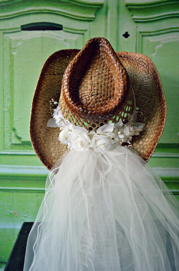 Western Wedding Veil Ivory White Hat Cowgirl Cowboy Boots Bride Cake By MorganTheCreator