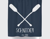 Shower Curtain: Custom Oars Family Name  Style | Made in the USA | 12 Hole Fabric Bathroom Decor