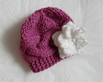Baby Hat, Baby Girl Hat Newborn - Toddler Hat Photo Prop, Knit Hat Girl Flower Hat, Infant Hat Newborn Baby Girl Hat, Baby Girl Newborn Hat,
