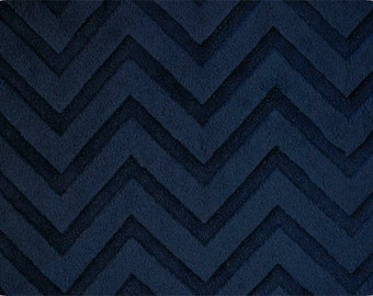 Navy Embossed Chevron Minky From Shannon Fabrics