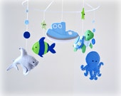 Under the sea Baby mobile - nursery decor - blue, gray, green - shark, octopus, fish, turtle, boat, starfish - MADE TO ORDER