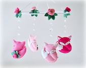 Woodland Fox mobile - baby crib mobile - roses - sleeping foxes - crystal mobile - nursery decor - MADE TO ORDER
