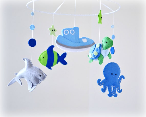 Under The Sea Baby Mobile Nursery Decor Blue By Lullabymobiles