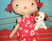 Primitive Raggedy Folk Art  Prim Doll Red Hair in Flowered Print Dress With Dog Set FAAP HAFAIR OFG