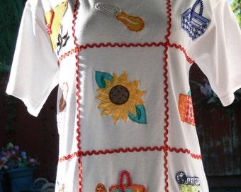beaded cotton garden shirt size med