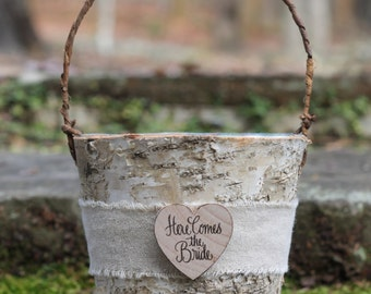Here Comes The Bride Birch Flower Girl Basket Rustic Shabby Chic Woodland Weddings