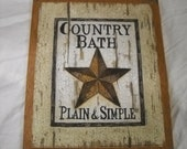 barn star country bath plain and simple wooden wall art sign bathroom decor plaques