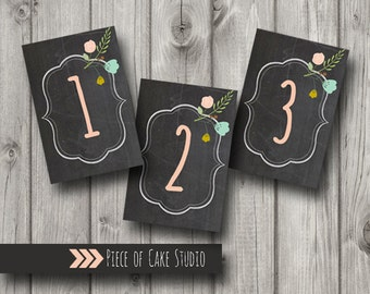 Wedding Table Numbers 4x6 chalkboard Instant Printable download 1-10