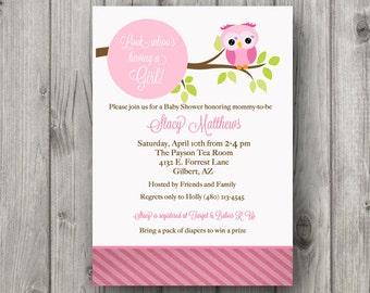 Girl Baby Shower with owl themed Invitation Customizable Printable Digital