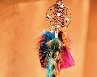 Dream Catcher Charm Gypsy Dreamcatcher Super Cute Feather/ Petite Bag Ring/Small Purse Charm