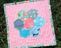 Mini Sweet Hexagon Flower Quilt - Aqua and Pink Hexies