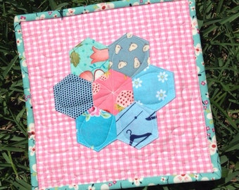 Mini Sweet Hexagon Flower Quilt - Aqua and Pink Hexies