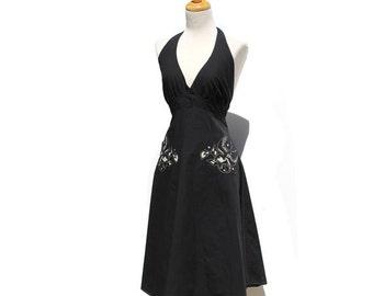 Cotton Black Halter Day Dress