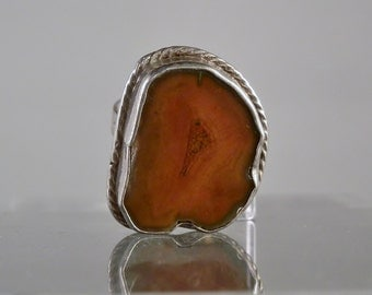 Vintage Ring Matural Carnelian Agate and Sterling Silver Size 8 Unique Artisan Ring Gift Idea Navajo Jewelry DanPickeMinerals