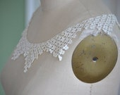 Lot of vintage French handmade collars , crocheted collar, White vintage French Battenberg lace