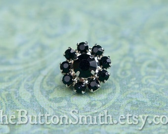 Rhinestone Buttons -Cleopatra- (11mm) RS-001 in Jet - 20 piece set