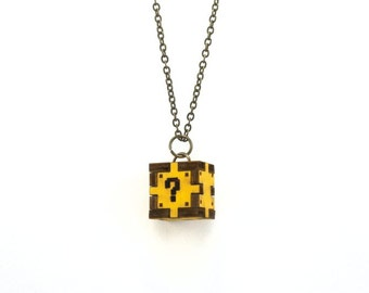 Question Box Necklace - Inspired By Mario - Handmade - Laser Cut - Laser Cut Jewelry