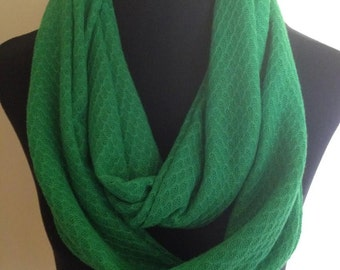 New Green Knit Long Infinity Scarf