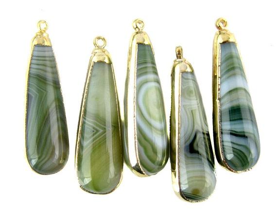 Agate Drop Pendant Moss Green Lace Agate Drop Pendant Charm