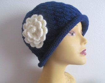 Navy Cloche Hat With Cream Rose Flower, Cloche Hat Knit