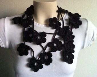Black Flower Scarf Lariat Necklace