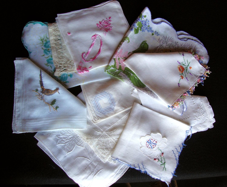 Crafts for vintage handkerchiefs