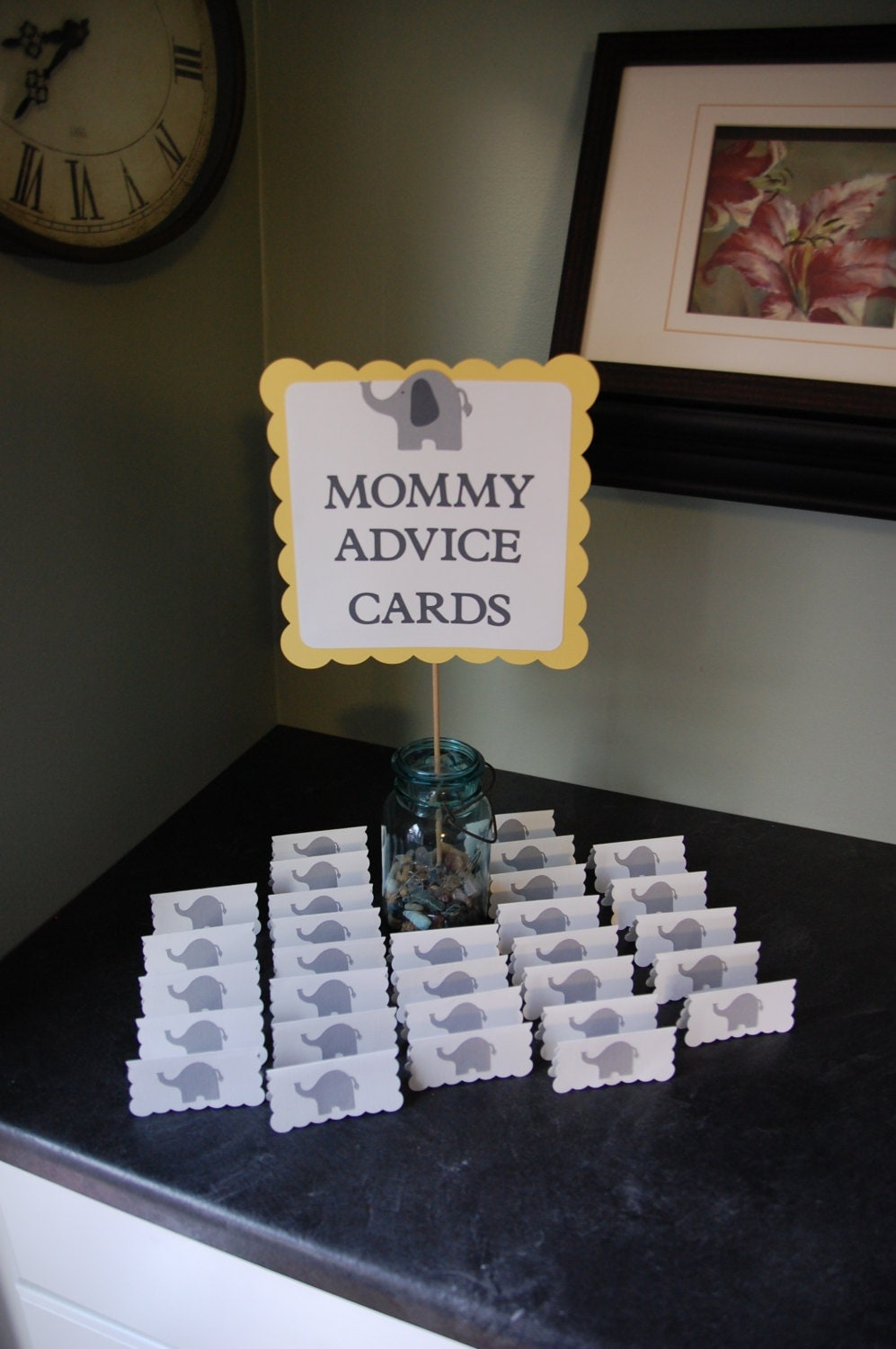 Elephant Baby Shower Mommy Advice Cards And Buffet Sign