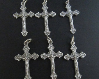 Italian Silver Small Ornate Crucifixes - set of 6