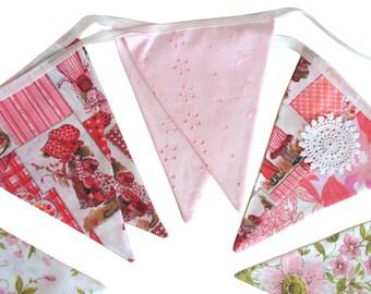 Holly Hobbie Vintage & Floral Pink Flag Bunting.  HANDMADE . Party, Shop, Banner Decoration or Girls Bedroom Pennant . GIFT IDEA