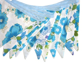 RETRO Vintage Bunting - Lace Blue Heaven Floral Flags . HANDMADE . Bedroom Wall hanging decor, Birthday Party Decoration Banner, Pennant