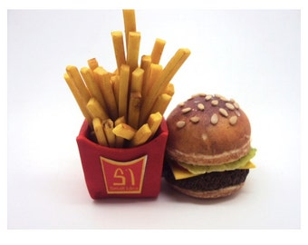 USB 4Gb With Burger and Fries In Polymer Clay