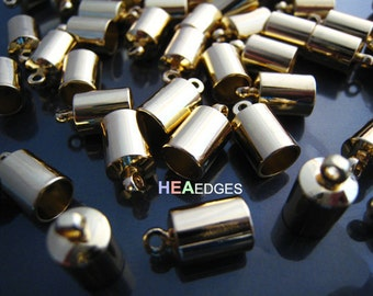 Finding - 6 pcs Gold Leather Cord Ends Cap with Loop For Round Leathers 12mm x 7mm ( inside 6mm Diamater )