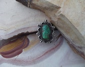 Natural turquoise and silver ring