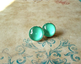 20% OFF -- Mint color earring stud, Blue earring,cute gift,Glass earring stud