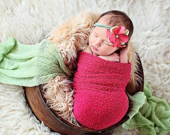 Newborn Stretch wrap - ZINNIA Stretch Wrap / Scarf / Blanket - Newborn Photo Prop - knitbysarah - stitches by sarah