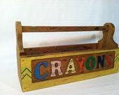 Vintage Crayon Box Holder Kids Playroom Organizer Art Supplies Tool