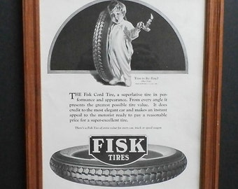 Framed Print - Vintage Fisk Tire Print - Old Magazine Ad - Art - Collectible Print - Wall Art - Man Cave