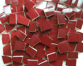 Solid Color Mosaic Tiles - Burgundy Wine - Recycled Plates - 100 Tiles