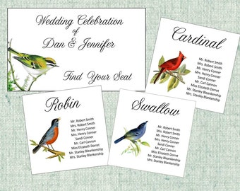 Seating Charts, Table Seating Assignment Cards, Seating Information, Guest Seating Cards, Table Seating charts