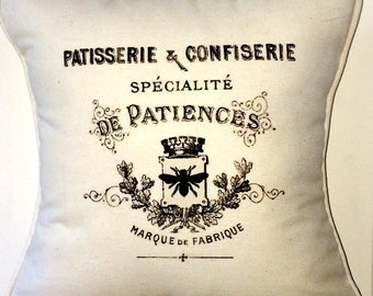 "shabby chic, feed sack, french country vintage patisserie graphic on cream cotton duck 14"" x 14"" pillow sham."
