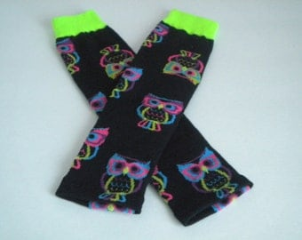 Baby Legwarmers Black with Owls READY TO SHIP