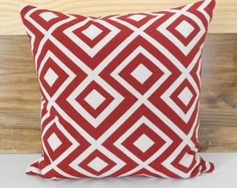 Red and ivory modern geometric trellis decorative pillow cover, La Fiorentina look-alike