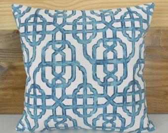 SALE Both sides, Navy blue trellis decorative pillow cover, imperial lattice pillow