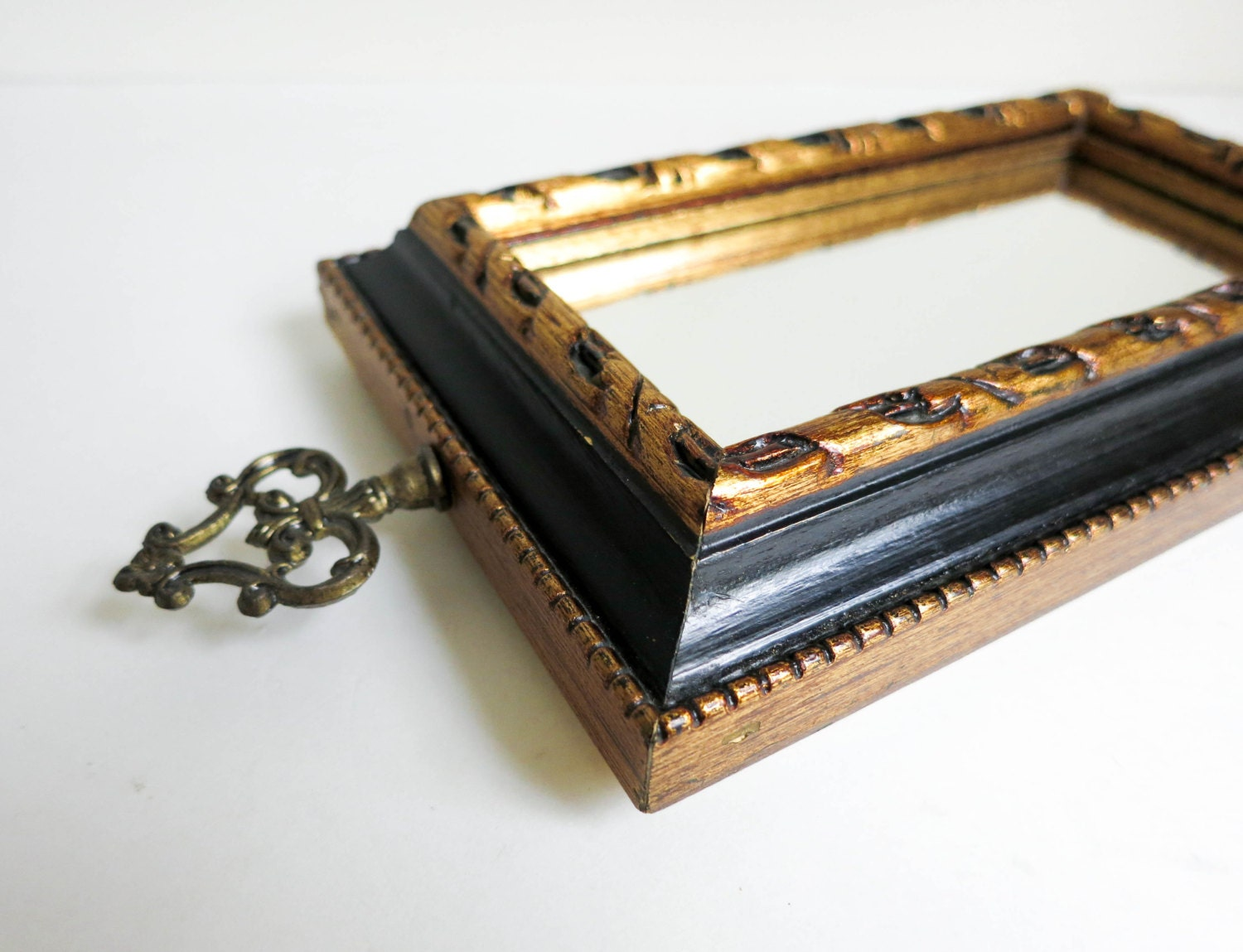 Small Black Decorative Mirrors: Small Vintage Black & Gold Mirror With Decorative Finial Top