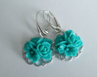 Teal Rose Earring, Wedding Jewelry, Aqua Flower Dangle Earrings, Sterling Silver Drop Earrings