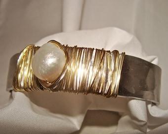 Wire Wrapped Silver Cuff Bracelet w/ Freshwater Pearl