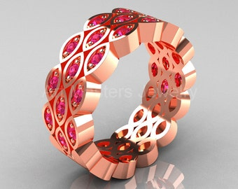 Art Masters Classic 14K Rose Gold Pink Sapphire Womens Wedding Band R272BF-14KRGPS